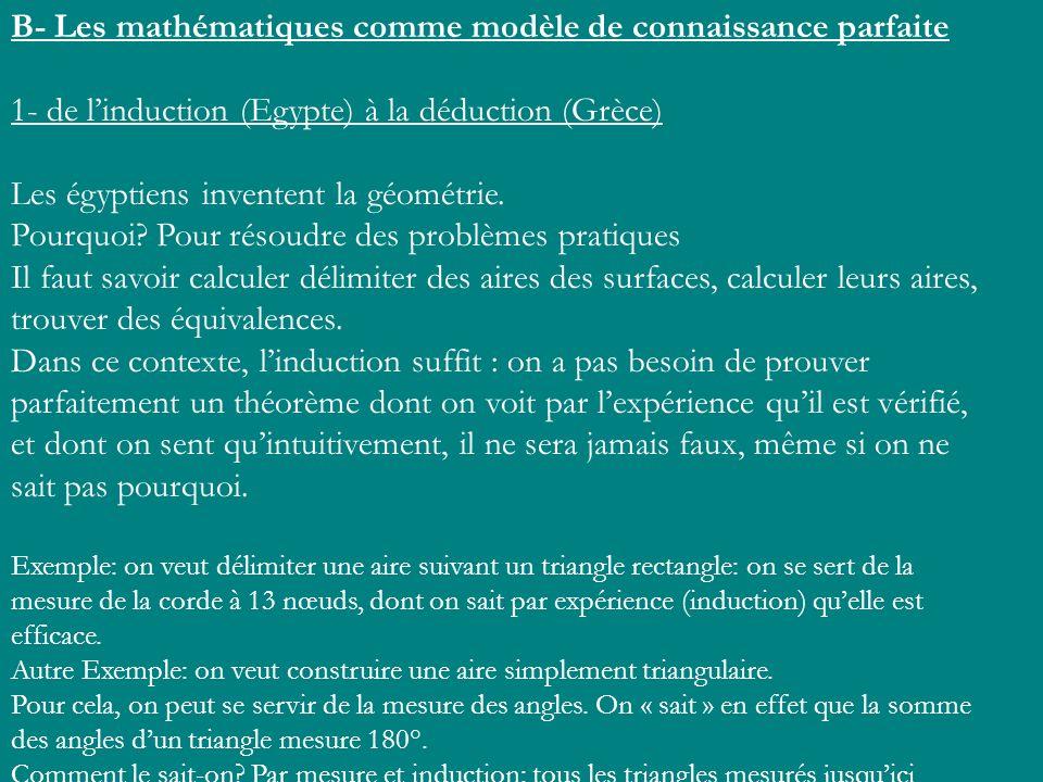 B- Les mathématiques comme modèle de connaissance parfaite