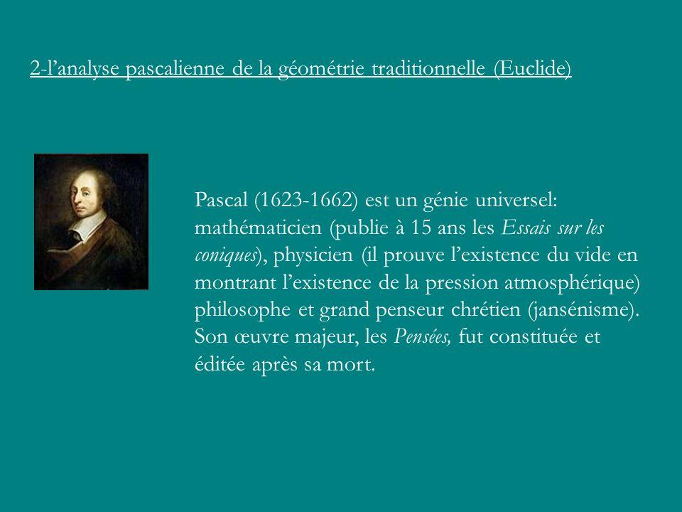 2-l'analyse pascalienne de la géométrie traditionnelle (Euclide)