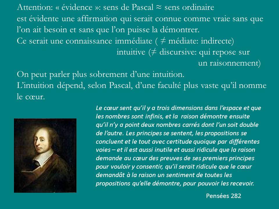 Attention: « évidence »: sens de Pascal ≈ sens ordinaire
