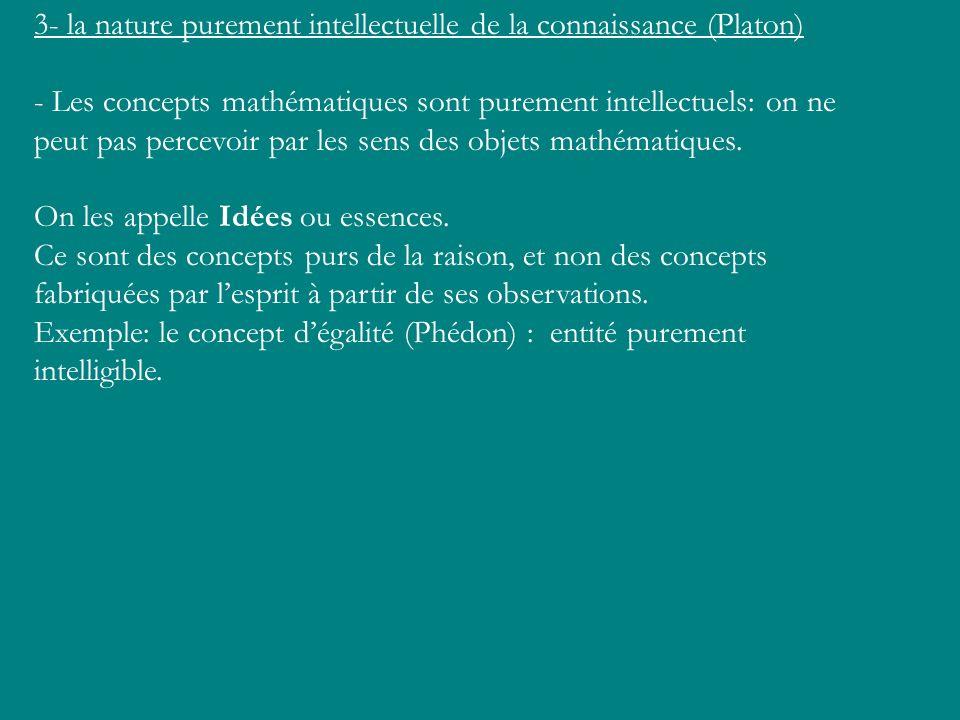 3- la nature purement intellectuelle de la connaissance (Platon)