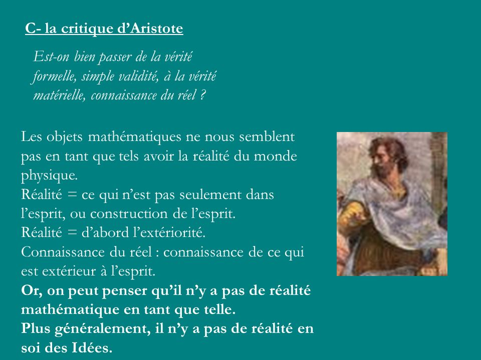 C- la critique d'Aristote