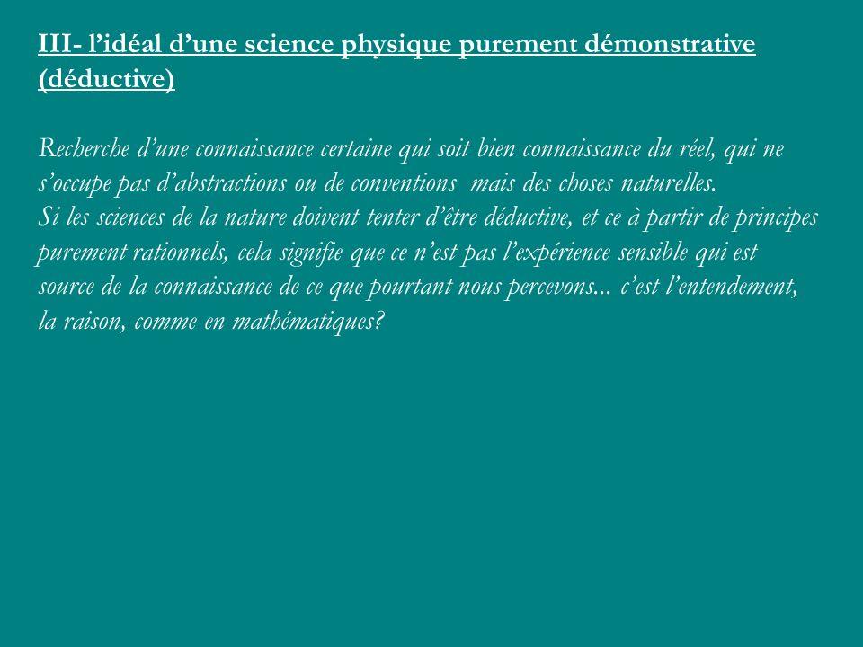 III- l'idéal d'une science physique purement démonstrative (déductive)