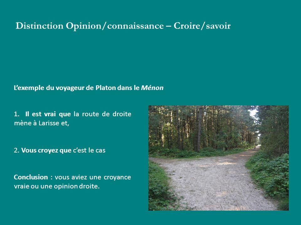 Distinction Opinion/connaissance – Croire/savoir