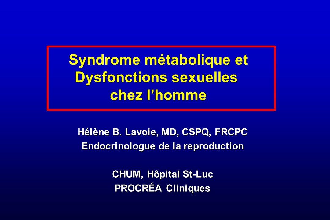 Syndrome métabolique et Dysfonctions sexuelles chez l'homme