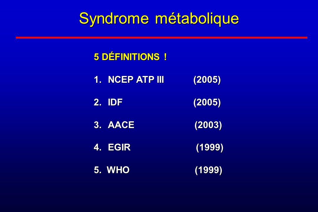 Syndrome métabolique 5 DÉFINITIONS ! NCEP ATP III (2005) IDF (2005)