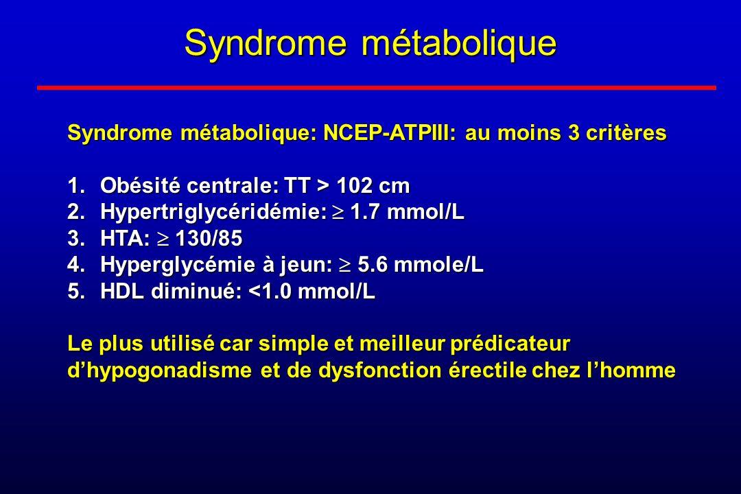 Syndrome métabolique Syndrome métabolique: NCEP-ATPIII: au moins 3 critères. Obésité centrale: TT > 102 cm.