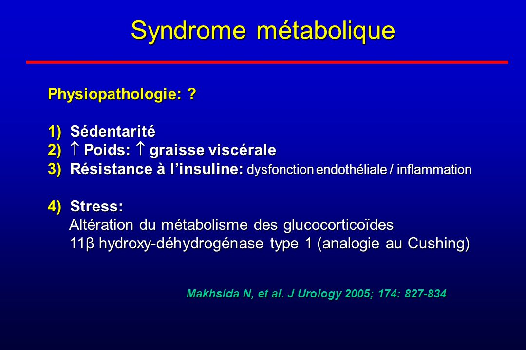 Syndrome métabolique Physiopathologie: 1) Sédentarité