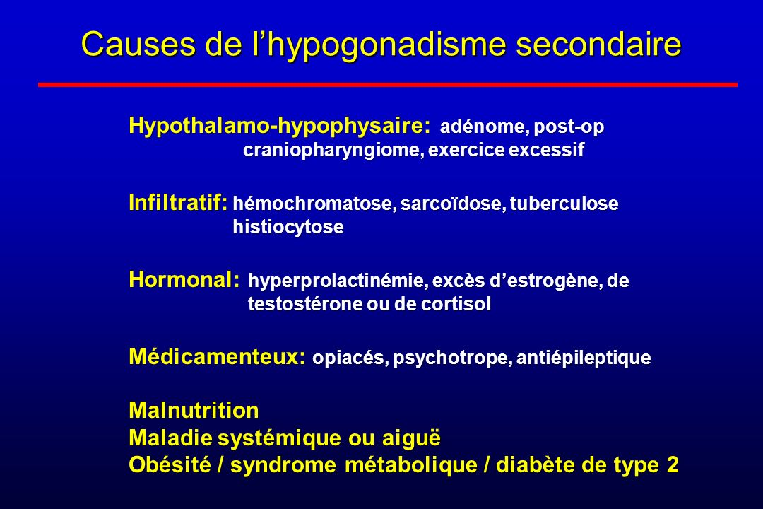 Causes de l'hypogonadisme secondaire