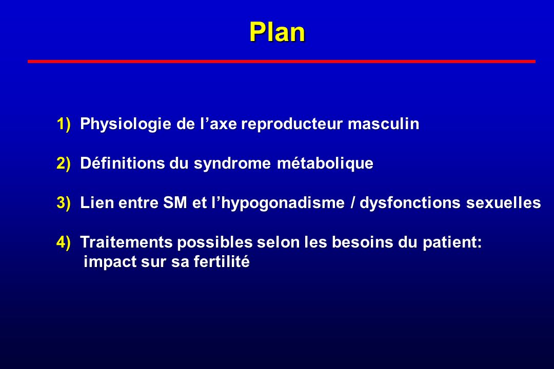 Plan 1) Physiologie de l'axe reproducteur masculin