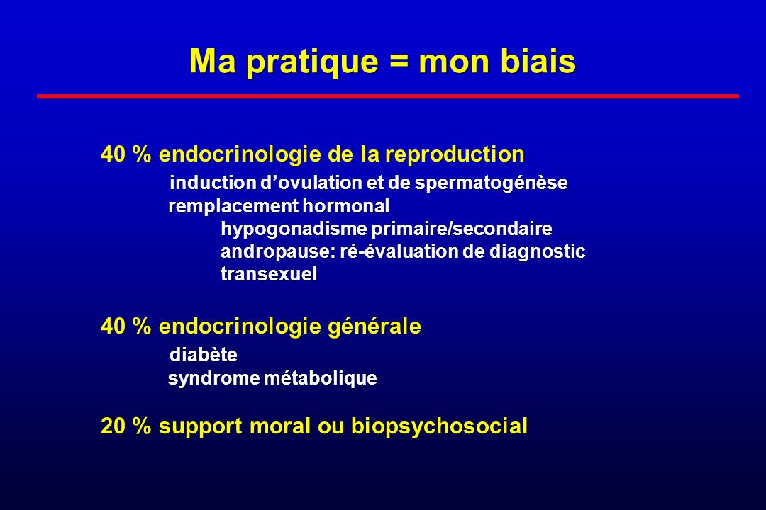 Ma pratique = mon biais 40 % endocrinologie de la reproduction