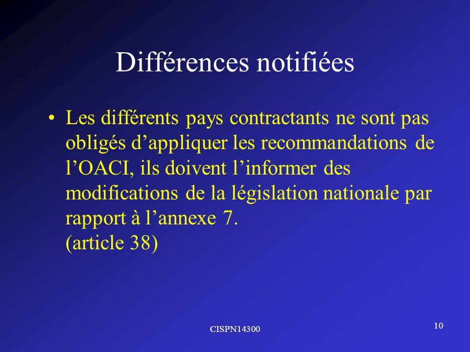 Différences notifiées