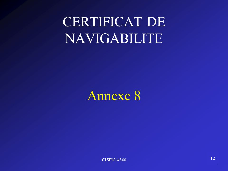 CERTIFICAT DE NAVIGABILITE