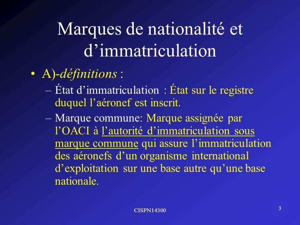 Marques de nationalité et d'immatriculation