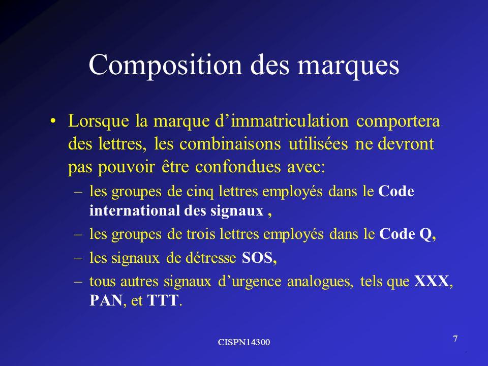 Composition des marques
