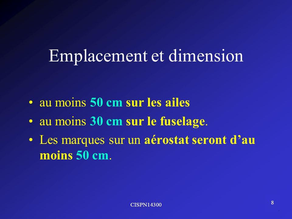 Emplacement et dimension