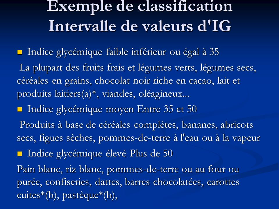 Exemple de classification Intervalle de valeurs d IG