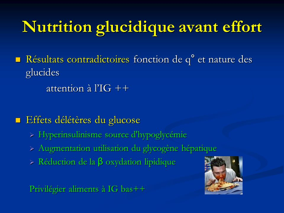 Nutrition glucidique avant effort