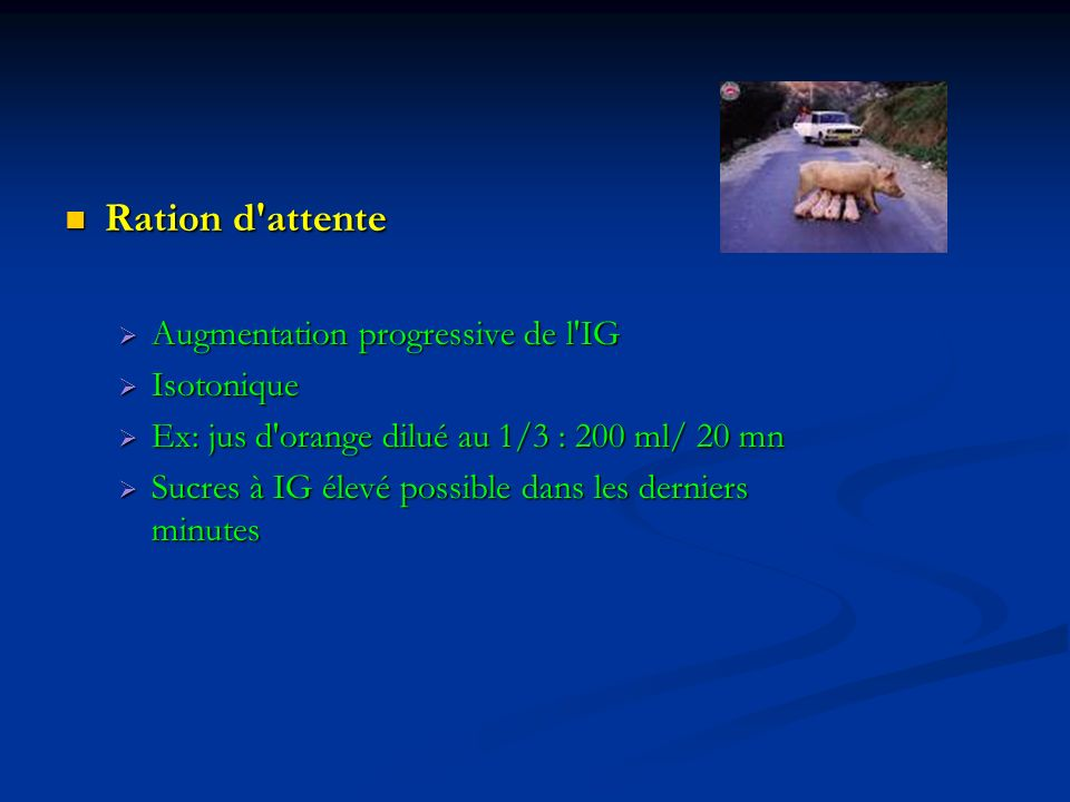 Ration d attente Augmentation progressive de l IG Isotonique