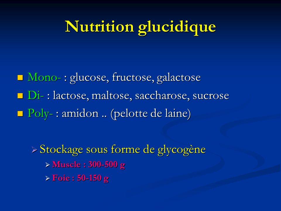 Nutrition glucidique Mono- : glucose, fructose, galactose