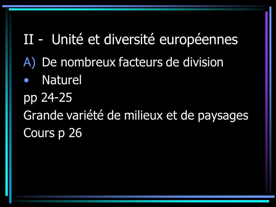 II - Unité et diversité européennes