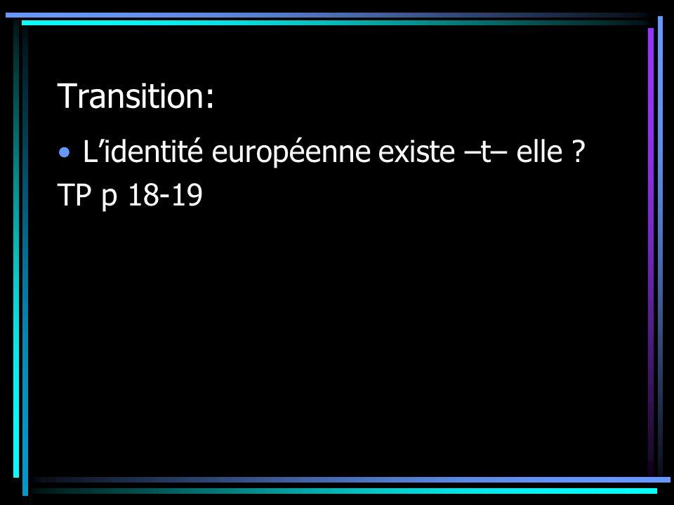Transition: L'identité européenne existe –t– elle TP p 18-19