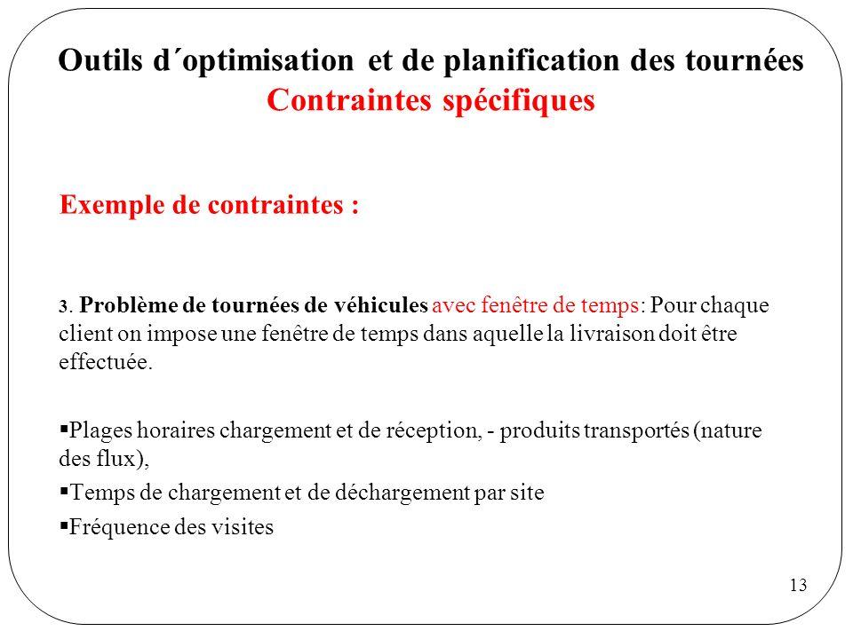 Outils d´optimisation et de planification des tournées Contraintes spécifiques