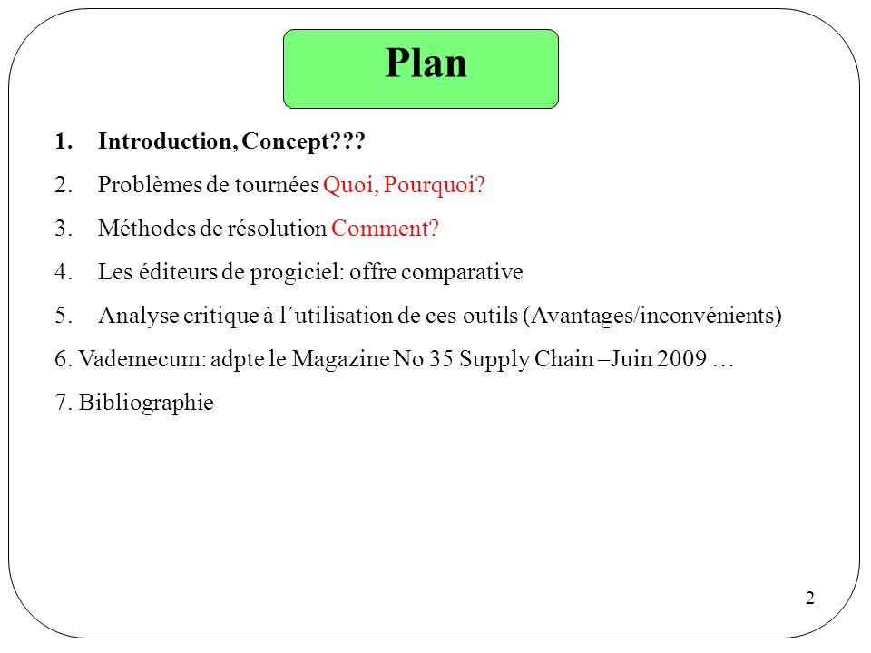 Plan Introduction, Concept Problèmes de tournées Quoi, Pourquoi