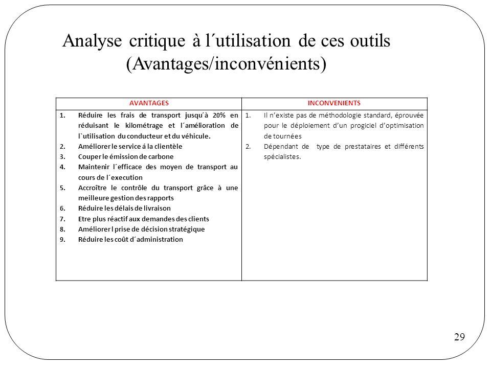 Analyse critique à l´utilisation de ces outils (Avantages/inconvénients)