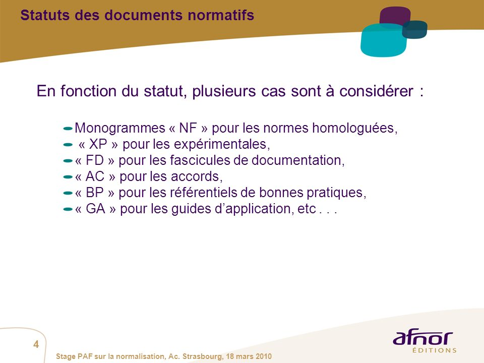 Statuts des documents normatifs