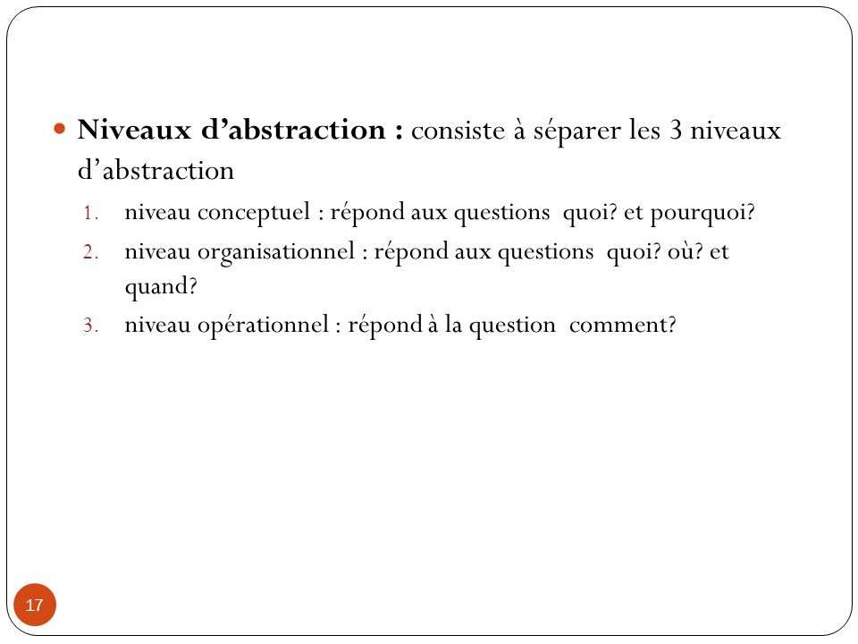 Niveaux d'abstraction : consiste à séparer les 3 niveaux d'abstraction