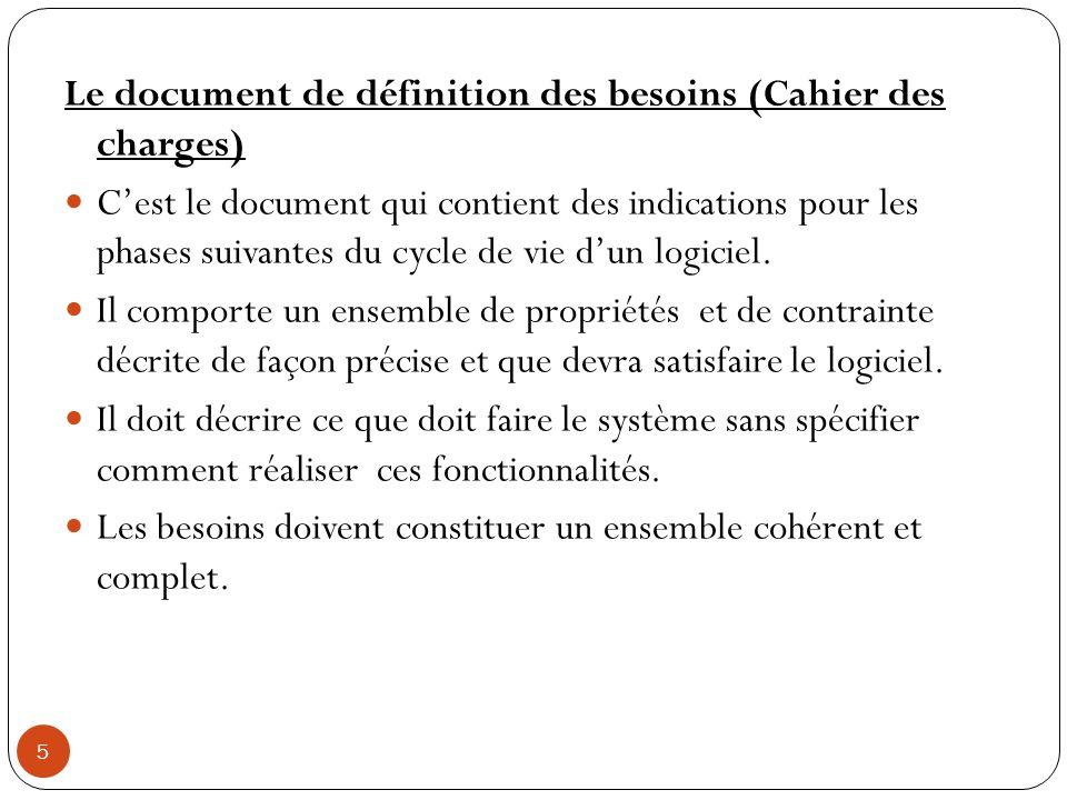 Le document de définition des besoins (Cahier des charges)