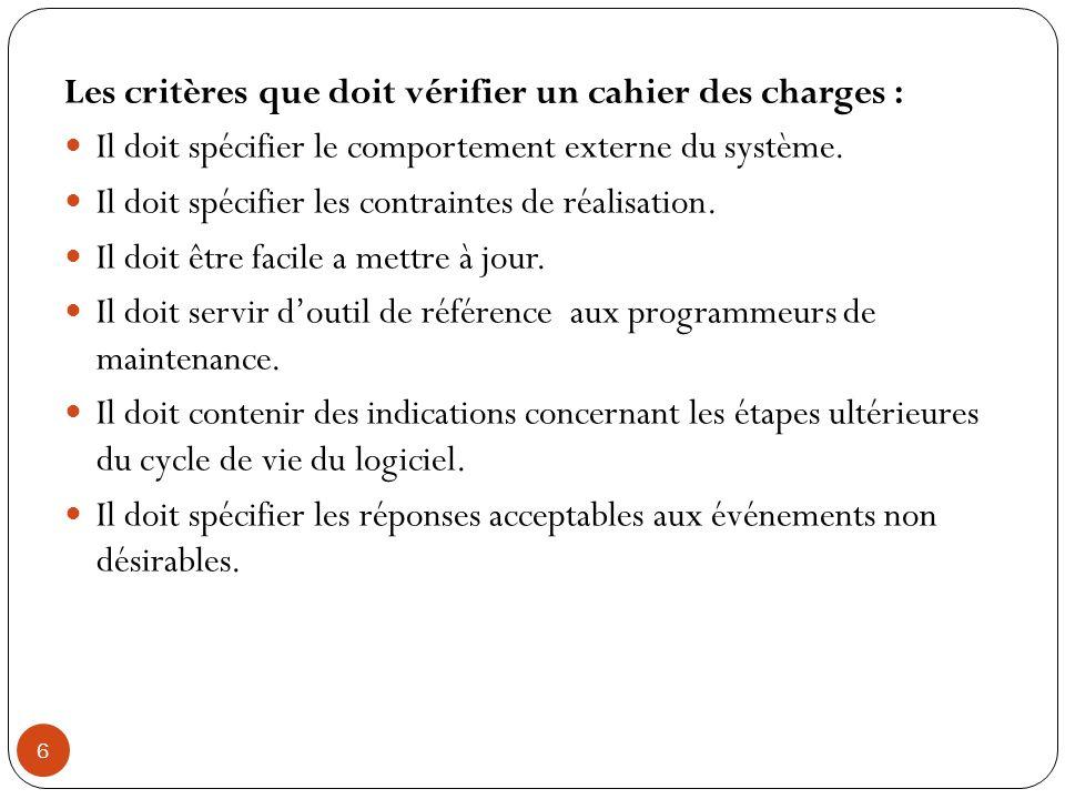 Les critères que doit vérifier un cahier des charges :