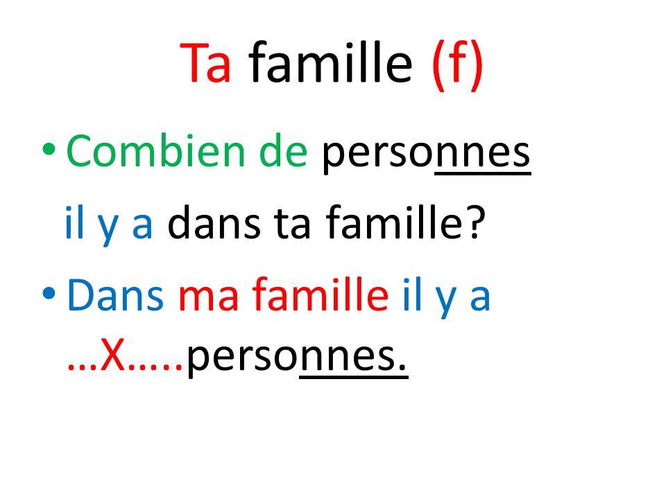 Ta famille (f) Combien de personnes il y a dans ta famille