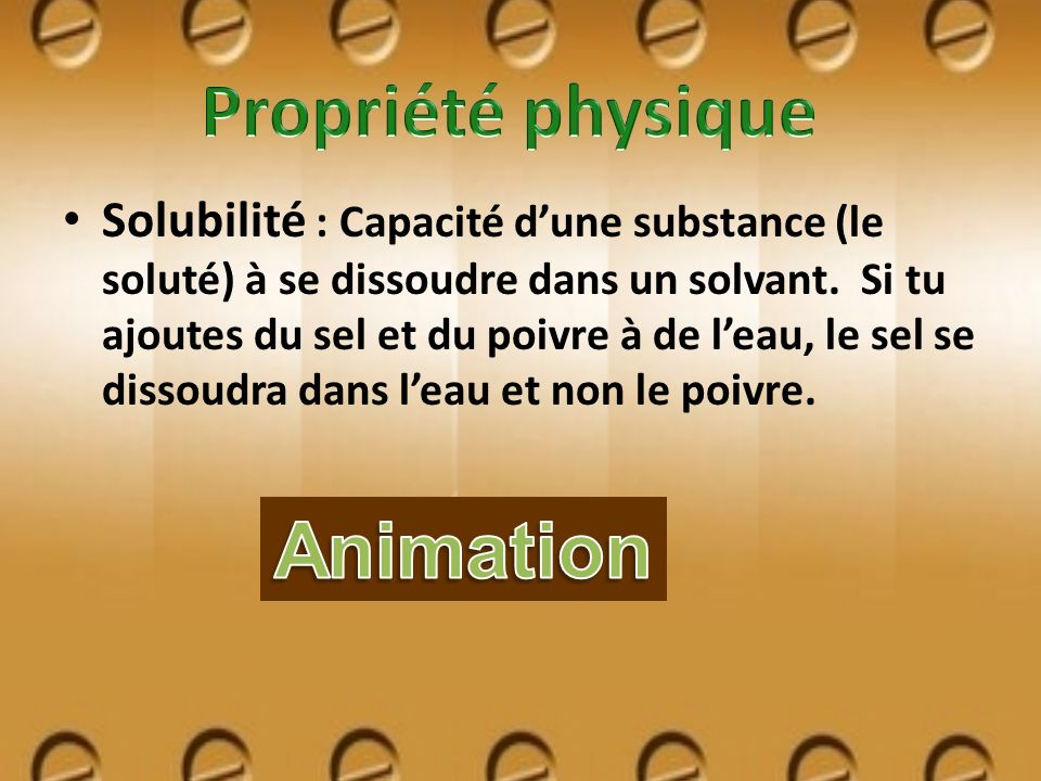 Propriété physique Animation