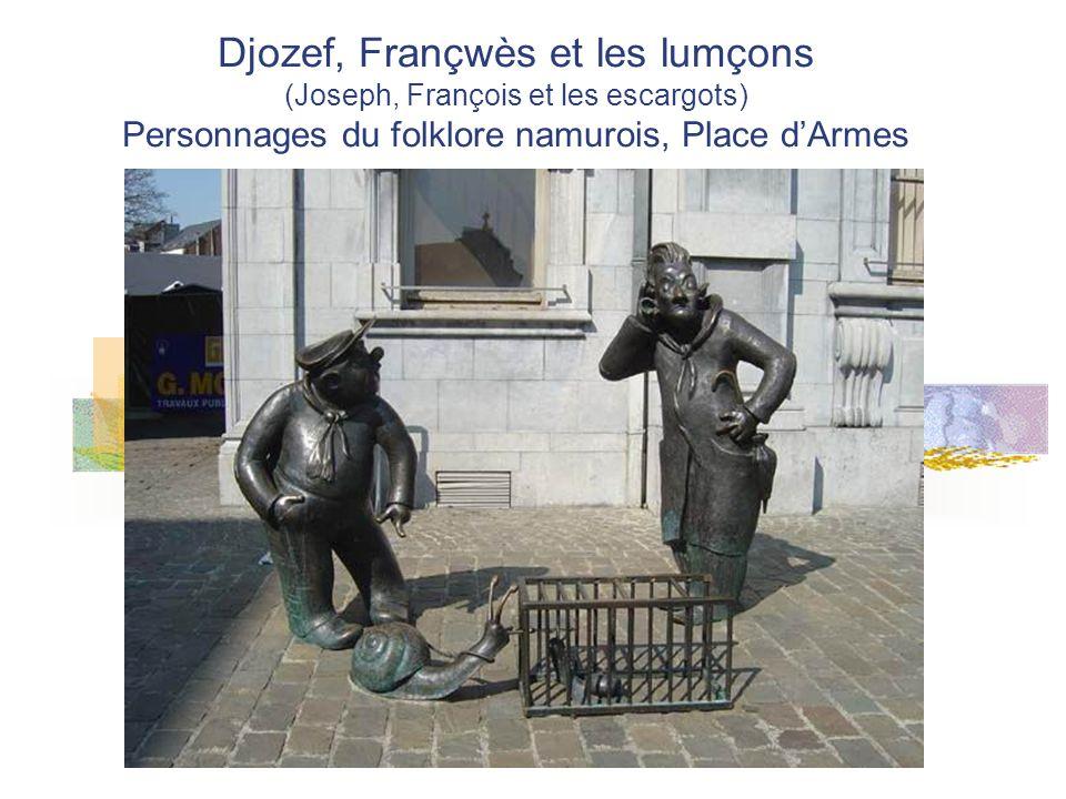 Djozef, Françwès et les lumçons (Joseph, François et les escargots) Personnages du folklore namurois, Place d'Armes