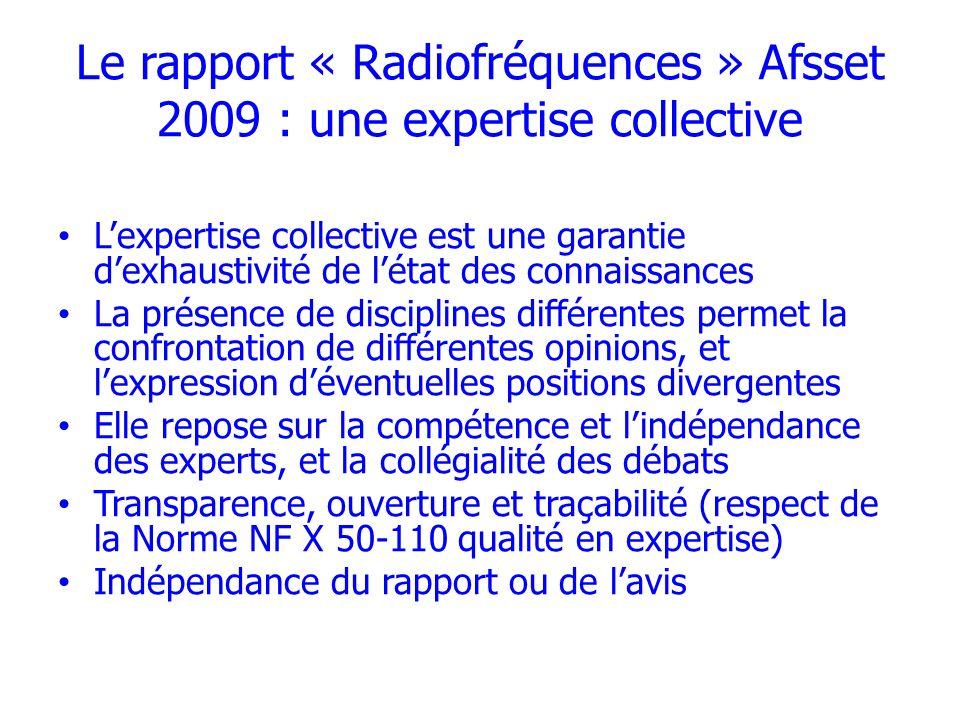 Le rapport « Radiofréquences » Afsset 2009 : une expertise collective