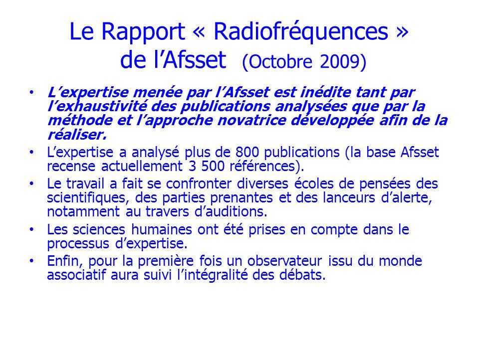 Le Rapport « Radiofréquences » de l'Afsset (Octobre 2009)