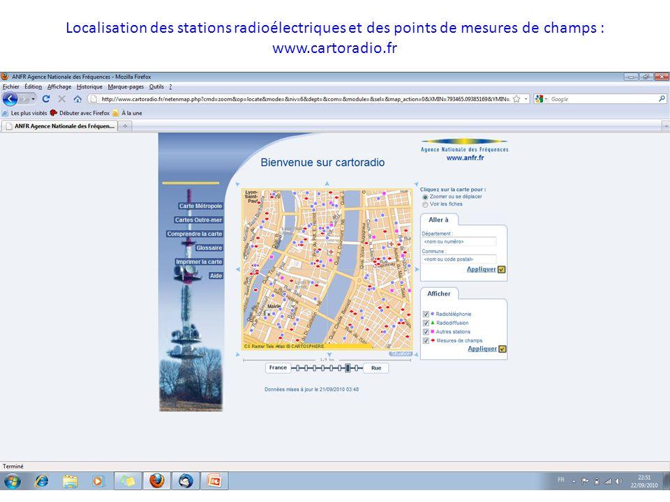 Localisation des stations radioélectriques et des points de mesures de champs : www.cartoradio.fr