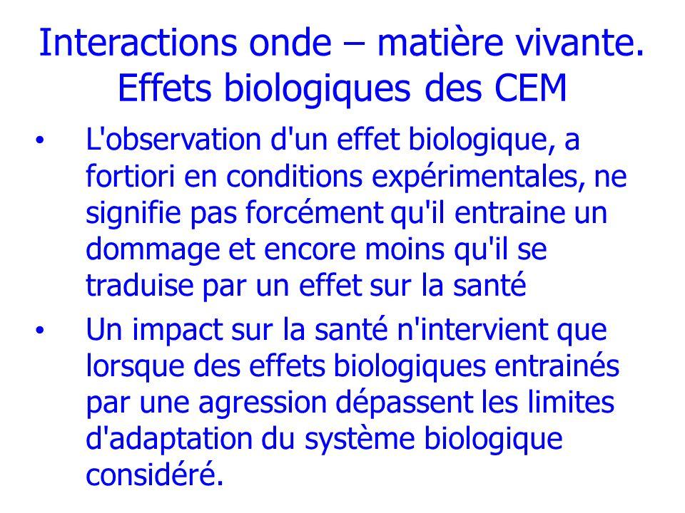 Interactions onde – matière vivante. Effets biologiques des CEM