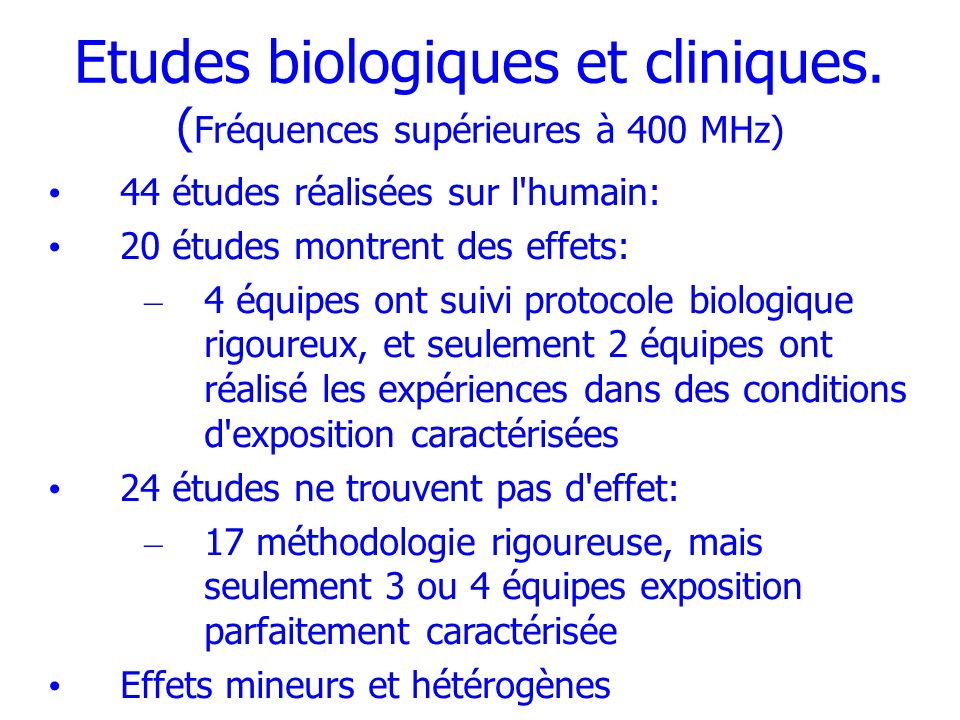 Etudes biologiques et cliniques. (Fréquences supérieures à 400 MHz)