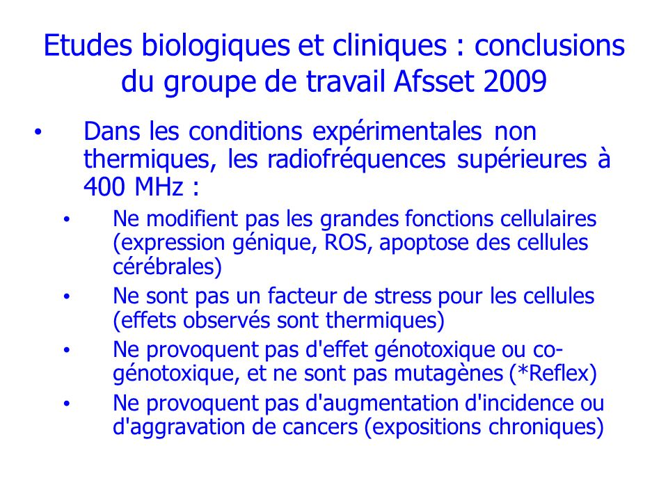 Etudes biologiques et cliniques : conclusions du groupe de travail Afsset 2009