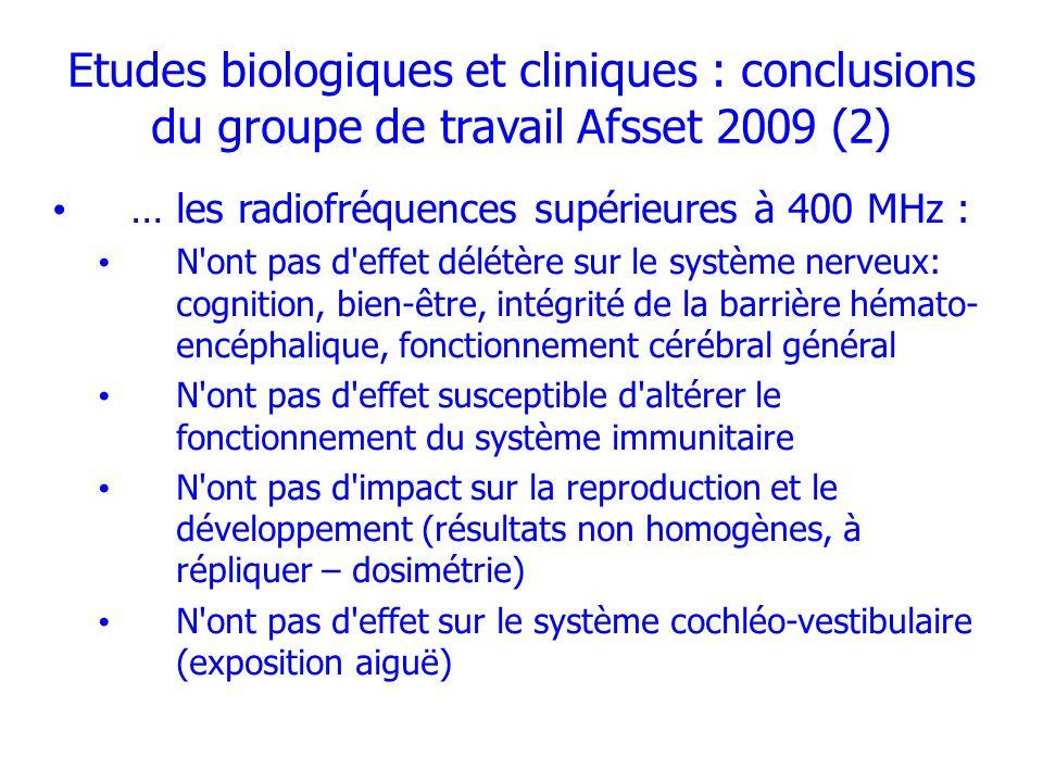 Etudes biologiques et cliniques : conclusions du groupe de travail Afsset 2009 (2)