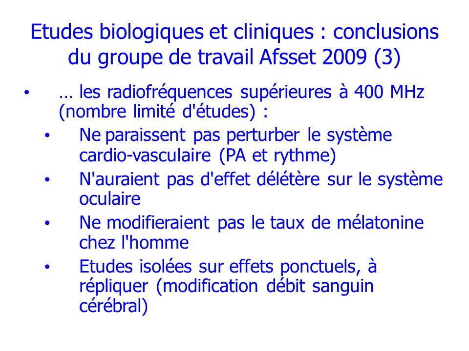 Etudes biologiques et cliniques : conclusions du groupe de travail Afsset 2009 (3)