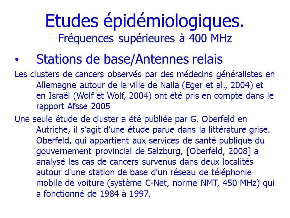 Etudes épidémiologiques. Fréquences supérieures à 400 MHz