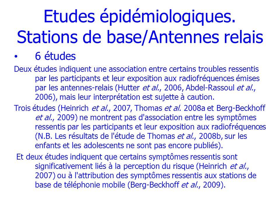 Etudes épidémiologiques. Stations de base/Antennes relais