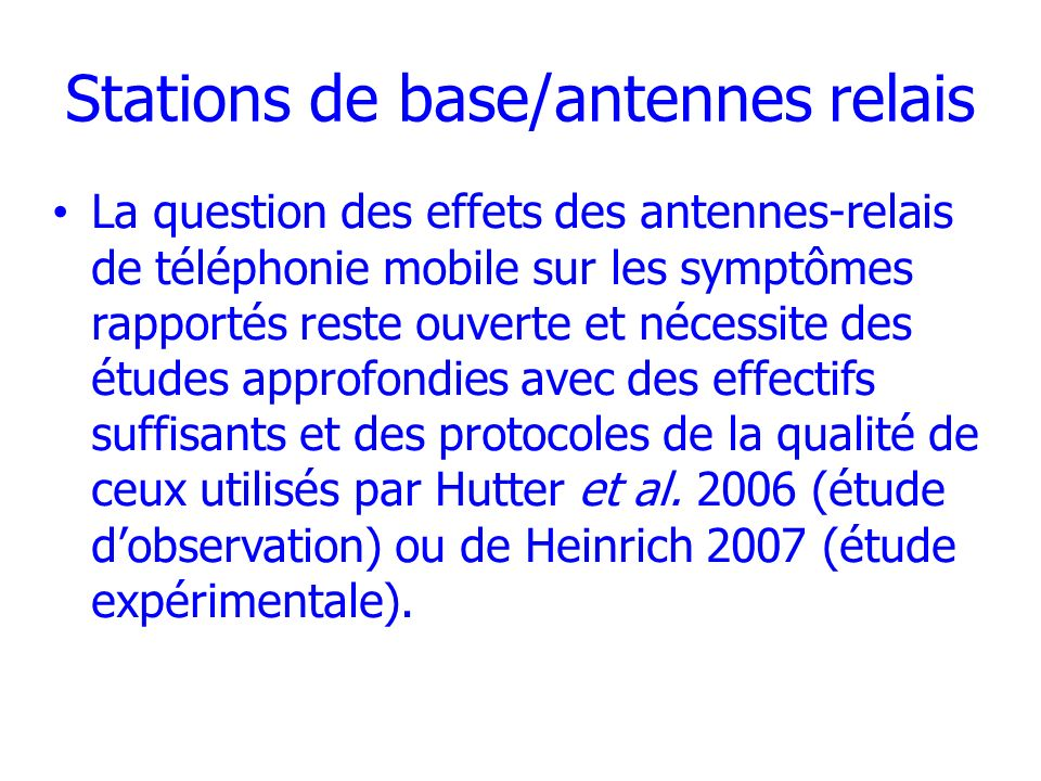 Stations de base/antennes relais