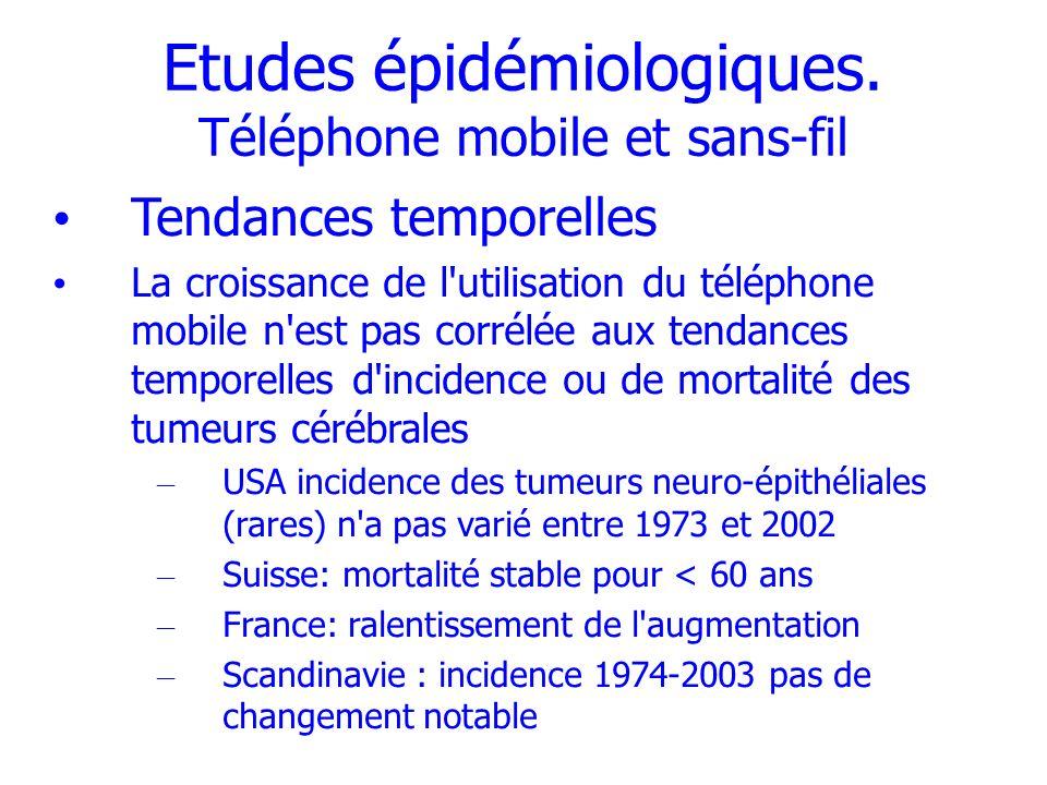Etudes épidémiologiques. Téléphone mobile et sans-fil