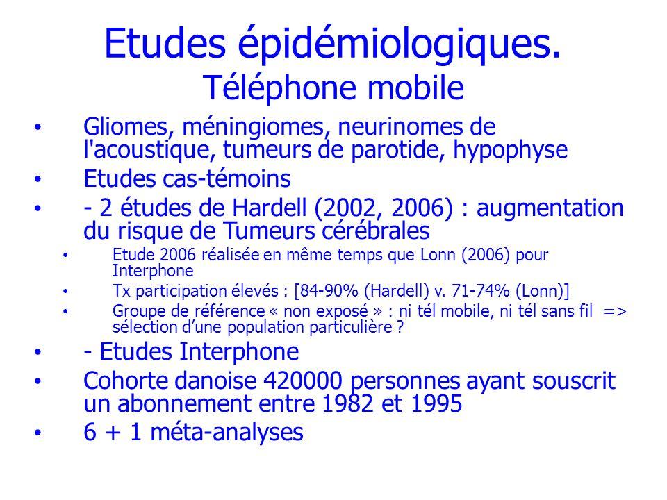 Etudes épidémiologiques. Téléphone mobile