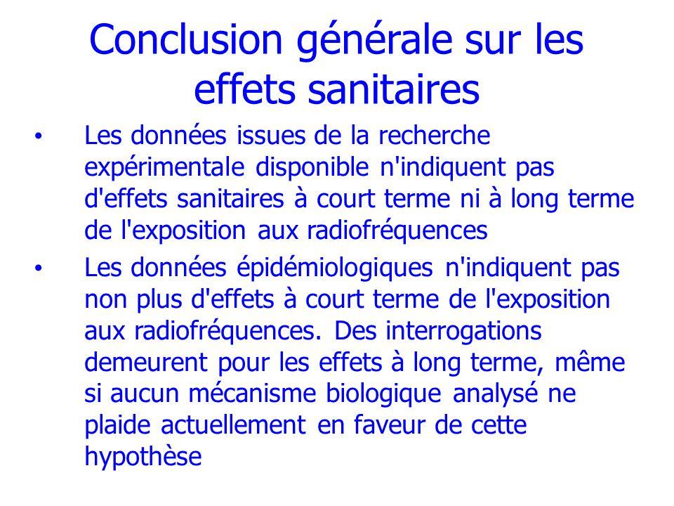 Conclusion générale sur les effets sanitaires