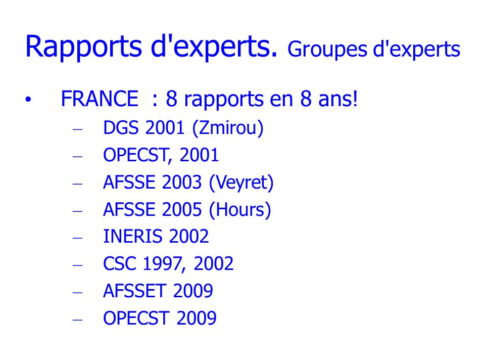 Rapports d experts. Groupes d experts